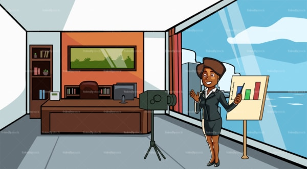 Black woman making a video at the office. PNG - JPG and vector EPS file formats (infinitely scalable). Image isolated on transparent background.