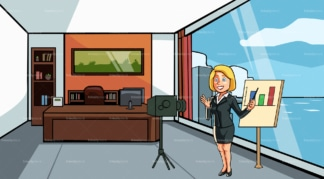 Business woman taking a video at the office. PNG - JPG and vector EPS file formats (infinitely scalable). Image isolated on transparent background.