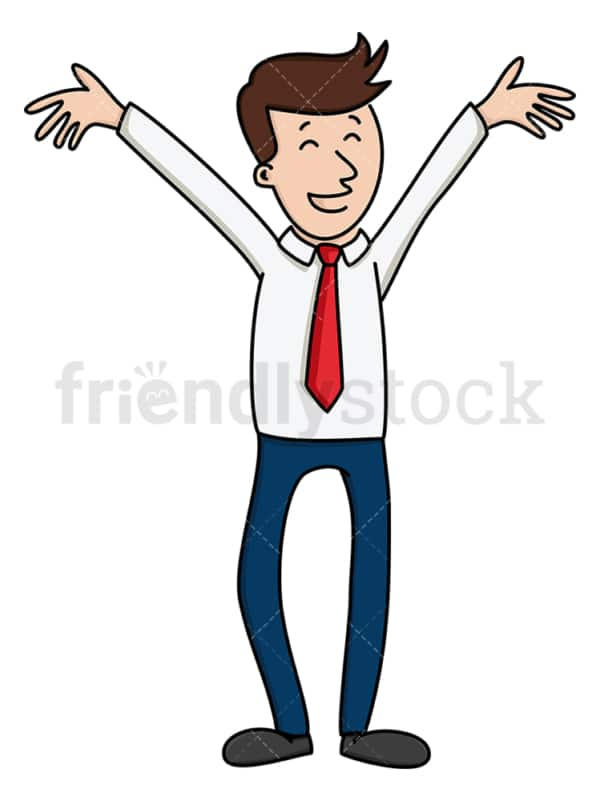 Businessman beaming with joy. PNG - JPG and vector EPS file formats (infinitely scalable). Image isolated on transparent background.