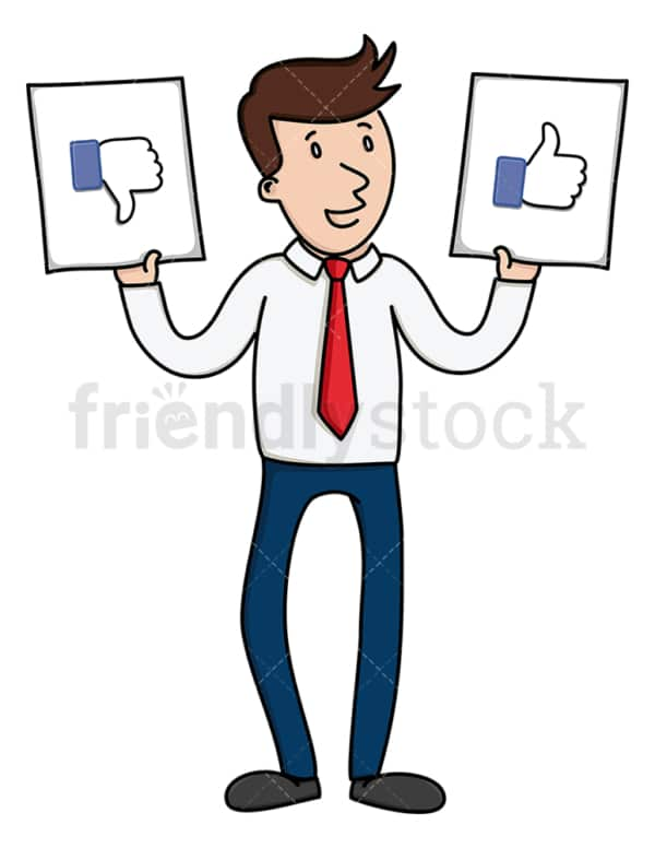 Businessman holding like and dislike sign. PNG - JPG and vector EPS file formats (infinitely scalable). Image isolated on transparent background.