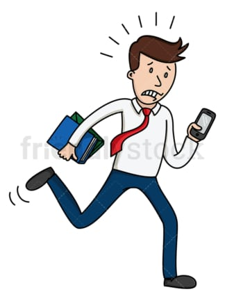 Busy man running while looking at phone. PNG - JPG and vector EPS file formats (infinitely scalable). Image isolated on transparent background.