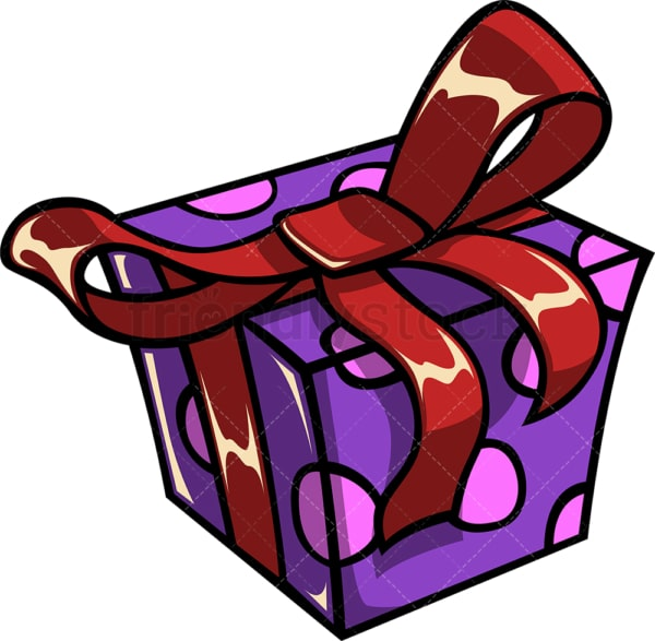 Purple wrapped gift box with ribbon. PNG - JPG and vector EPS file formats (infinitely scalable). Image isolated on transparent background.