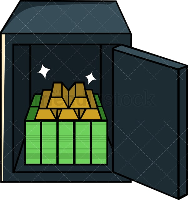 Safe vault with money and gold inside. PNG - JPG and vector EPS file formats (infinitely scalable). Image isolated on transparent background.