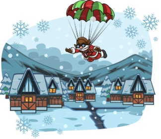 Santa parachuting in village covered in snow. PNG - JPG and vector EPS file formats (infinitely scalable). Image isolated on transparent background.