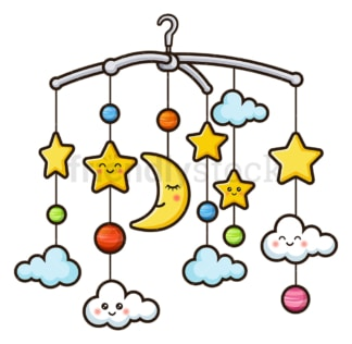 Baby crib bell hanging toy. PNG - JPG and vector EPS file formats (infinitely scalable). Image isolated on transparent background.