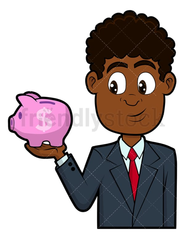 Black businessman holding piggy bank. PNG - JPG and vector EPS file formats (infinitely scalable). Image isolated on transparent background.