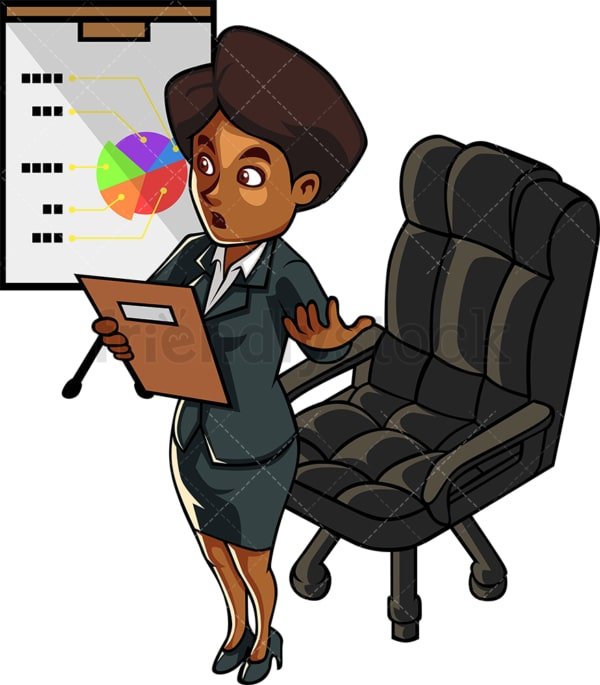 Black female executive presenting. PNG - JPG and vector EPS file formats (infinitely scalable). Image isolated on transparent background.