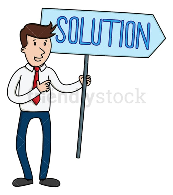 Businessman holding solution sign. PNG - JPG and vector EPS file formats (infinitely scalable). Image isolated on transparent background.