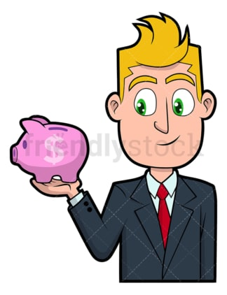 Businessman holding tiny piggy bank. PNG - JPG and vector EPS file formats (infinitely scalable). Image isolated on transparent background.
