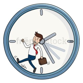 Corporate man behind schedule. PNG - JPG and vector EPS file formats (infinitely scalable). Image isolated on transparent background.