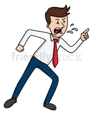 Livid businessman leaning and yelling. PNG - JPG and vector EPS file formats (infinitely scalable). Image isolated on transparent background.