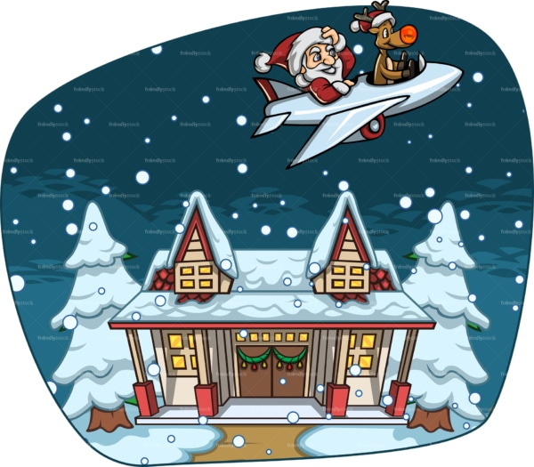 Santa & rudolph flying away from a house. PNG - JPG and vector EPS file formats (infinitely scalable). Image isolated on transparent background.