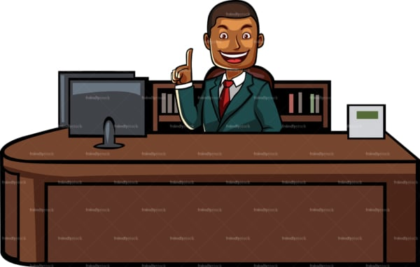 Black business man behind desk. PNG - JPG and vector EPS file formats (infinitely scalable). Image isolated on transparent background.