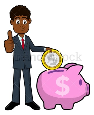 Black businessman putting coin in piggy bank. PNG - JPG and vector EPS file formats (infinitely scalable). Image isolated on transparent background.