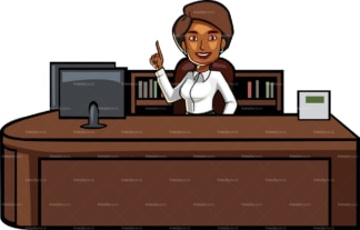 Black woman pointing up behind desk. PNG - JPG and vector EPS file formats (infinitely scalable). Image isolated on transparent background.