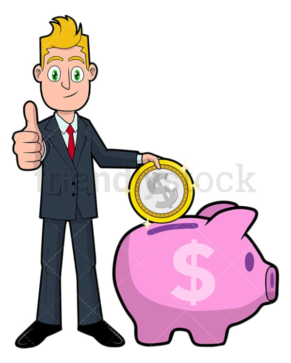 Businessman saving dollar in piggy bank. PNG - JPG and vector EPS file formats (infinitely scalable). Image isolated on transparent background.