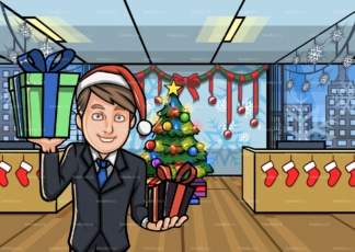 Man at christmas decorated office holding presents. PNG - JPG and vector EPS file formats (infinitely scalable). Image isolated on transparent background.