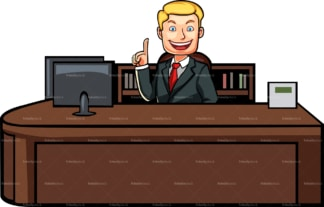 Man behind desk isolated on white background. PNG - JPG and vector EPS file formats (infinitely scalable). Image isolated on transparent background.
