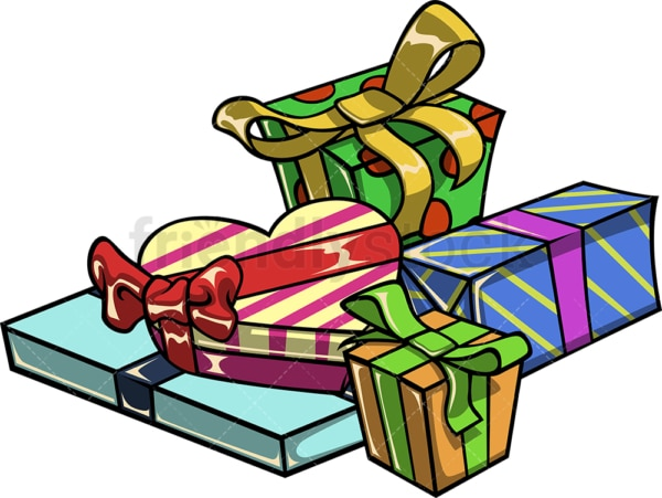 Pile of gift boxes. PNG - JPG and vector EPS file formats (infinitely scalable). Image isolated on transparent background.