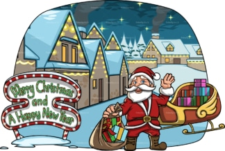 Santa next to his sleigh near a village. PNG - JPG and vector EPS file formats (infinitely scalable). Image isolated on transparent background.