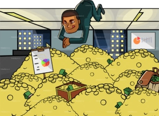 Black businessman diving in gold. PNG - JPG and vector EPS file formats (infinitely scalable). Image isolated on transparent background.
