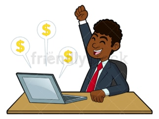 Black businessman making money on the internet. PNG - JPG and vector EPS file formats (infinitely scalable). Image isolated on transparent background.