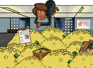 Black woman diving in a pile of gold. PNG - JPG and vector EPS file formats (infinitely scalable). Image isolated on transparent background.