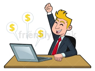 Businessman making money online. PNG - JPG and vector EPS file formats (infinitely scalable). Image isolated on transparent background.