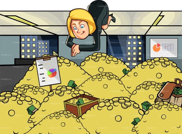 Happy business woman diving in a pile of gold. PNG - JPG and vector EPS file formats (infinitely scalable). Image isolated on transparent background.