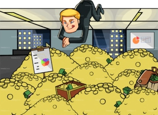 Man diving in pile of money and gold. PNG - JPG and vector EPS file formats (infinitely scalable). Image isolated on transparent background.