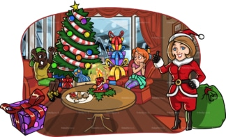 Mom dressed as santa claus for her kids. PNG - JPG and vector EPS file formats (infinitely scalable). Image isolated on transparent background.
