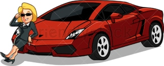 Rich woman showing off her super car. PNG - JPG and vector EPS file formats (infinitely scalable). Image isolated on transparent background.