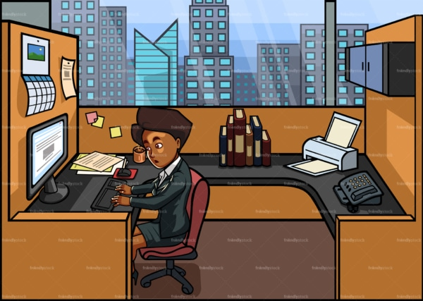 Black female employee working nine to five. PNG - JPG and vector EPS file formats (infinitely scalable). Image isolated on transparent background.
