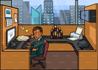 Black man working 9 to 5 in his cubicle. PNG - JPG and vector EPS file formats (infinitely scalable). Image isolated on transparent background.