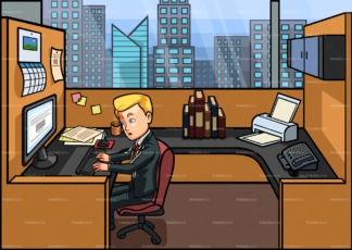 Employee working 9 to 5 in cubicle. PNG - JPG and vector EPS file formats (infinitely scalable). Image isolated on transparent background.