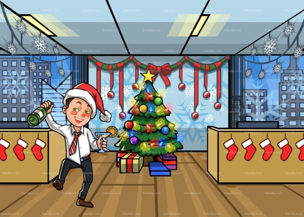 Man who got drunk at the office christmas party. PNG - JPG and vector EPS file formats (infinitely scalable). Image isolated on transparent background.