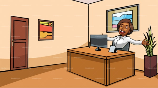 Black business woman feeling happy at work. PNG - JPG and vector EPS file formats (infinitely scalable). Image isolated on transparent background.