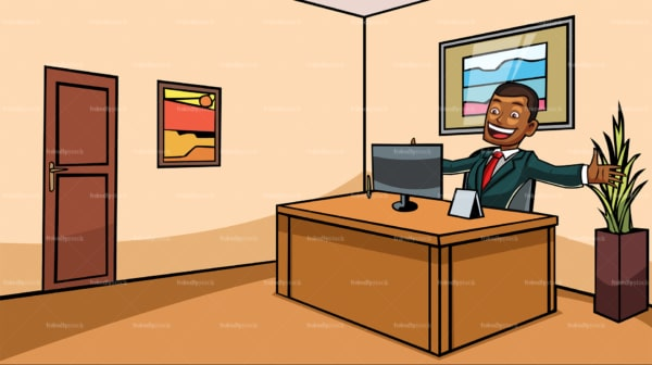 Black man at the office cheering. PNG - JPG and vector EPS file formats (infinitely scalable). Image isolated on transparent background.