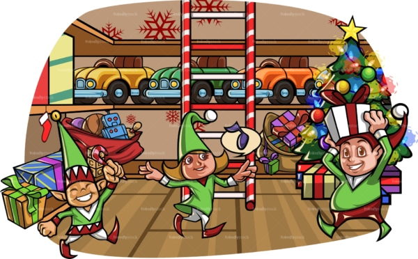 Elves having fun at santa's workshop. PNG - JPG and vector EPS file formats (infinitely scalable). Image isolated on transparent background.