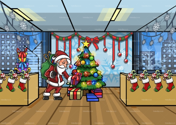 Santa leaving present under christmas tree at office. PNG - JPG and vector EPS file formats (infinitely scalable). Image isolated on transparent background.