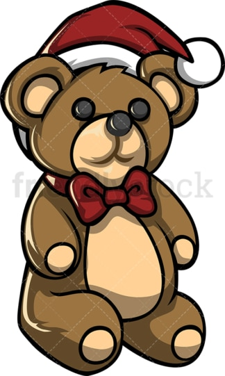 Teddy bear with santa hat. PNG - JPG and vector EPS file formats (infinitely scalable). Image isolated on transparent background.