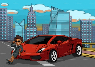 Black woman leaning on supercar with the city in the distance. PNG - JPG and vector EPS file formats (infinitely scalable). Image isolated on transparent background.