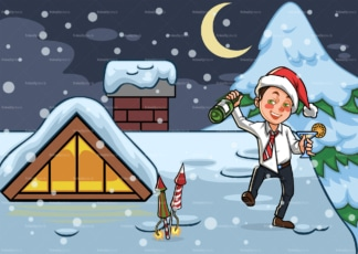 Drunk man on rooftop at christmas. PNG - JPG and vector EPS file formats (infinitely scalable). Image isolated on transparent background.