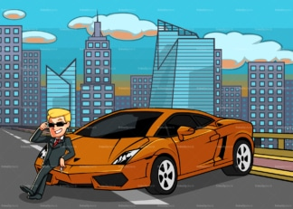 Man leaning on his super car in a city highway. PNG - JPG and vector EPS file formats (infinitely scalable). Image isolated on transparent background.
