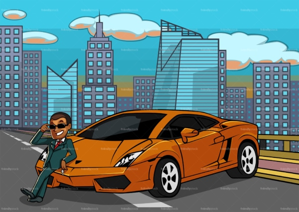 Rich black man leaning on car in a city highway. PNG - JPG and vector EPS file formats (infinitely scalable). Image isolated on transparent background.