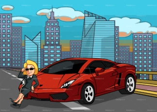 Woman and her supercar with the city in the back. PNG - JPG and vector EPS file formats (infinitely scalable). Image isolated on transparent background.