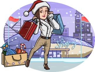 Woman outside shopping mall at christmas. PNG - JPG and vector EPS file formats (infinitely scalable). Image isolated on transparent background.
