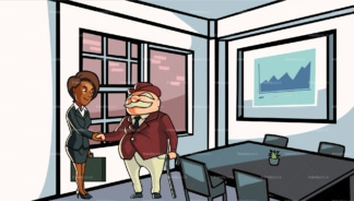 Black woman having business meeting with client. PNG - JPG and vector EPS file formats (infinitely scalable). Image isolated on transparent background.