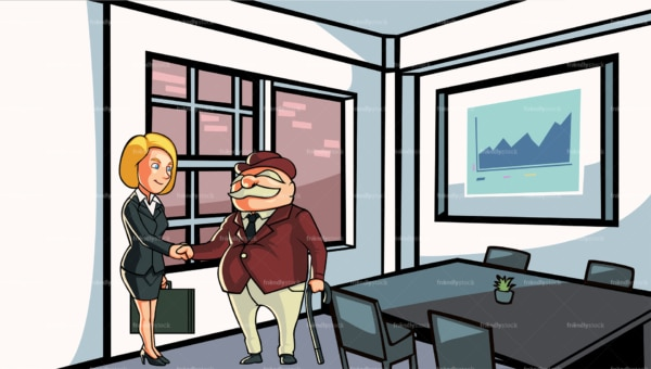 Business woman attending meeting with client. PNG - JPG and vector EPS file formats (infinitely scalable). Image isolated on transparent background.