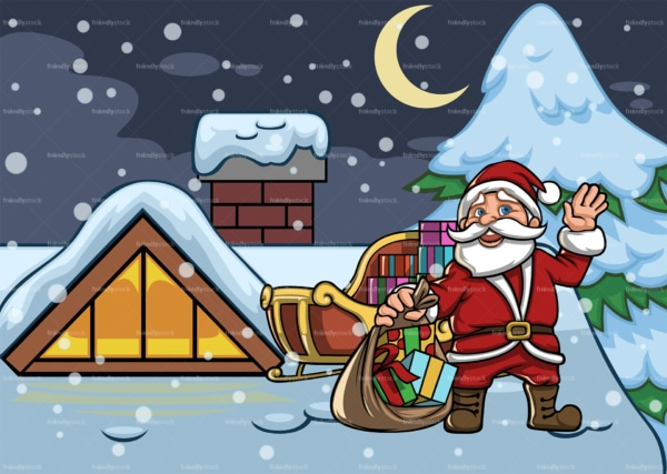 Waving santa claus on rooftop. PNG - JPG and vector EPS file formats (infinitely scalable). Image isolated on transparent background.